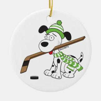 Cartoon Hockey Dog Green Scarf Christmas Ornament