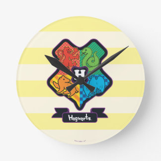 Cartoon Hogwarts Crest Round Clock