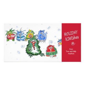 Cartoon Holiday KIWIshes Card Photo Card Template