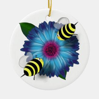 Cartoon Honey Bees Meeting on Blue Flower Round Ceramic Decoration