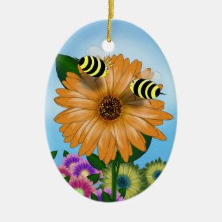 Cartoon Honey Bees Meeting on Orange Flower Ceramic Oval Decoration