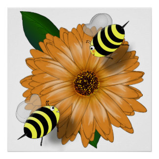 Cartoon Honey Bees Meeting on Orange Flower Poster
