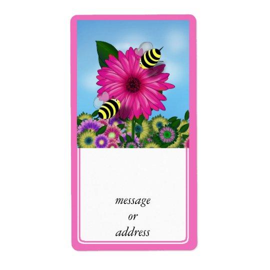 Cartoon Honey Bees Meeting on Pink Flower