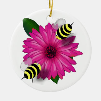 Cartoon Honey Bees Meeting on Pink Flower Round Ceramic Decoration