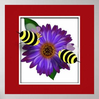 Cartoon Honey Bees Meeting on Purple Flower Poster