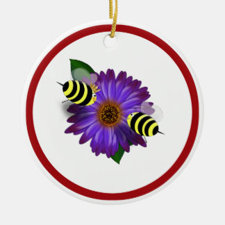 Cartoon Honey Bees Meeting on Purple Flower Round Ceramic Decoration