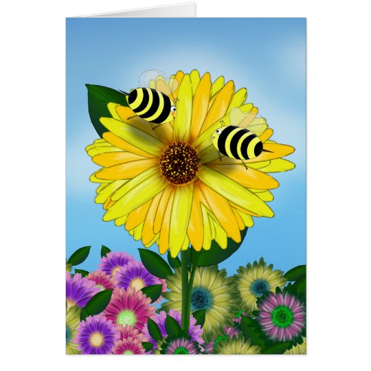 Cartoon Honey Bees Meeting on Yellow Flower Card