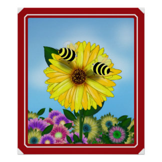 Cartoon Honey Bees Meeting on Yellow Flower Poster