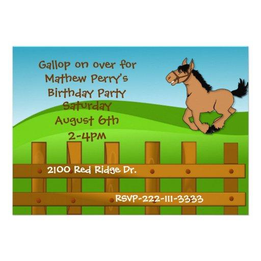 Cartoon Horse Birthday Invitation