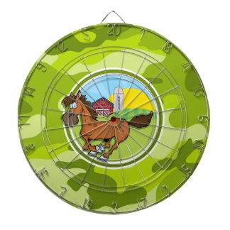 Cartoon Horse; bright green camo, camouflage Dartboard With Darts