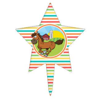 Cartoon Horse Bright Rainbow Stripes Cake Pick