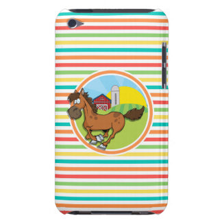 Cartoon Horse; Bright Rainbow Stripes iPod Touch Case