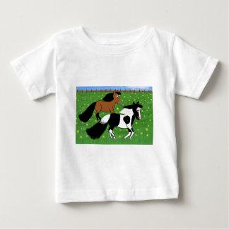 Cartoon Horses Running in Field Baby T-Shirt