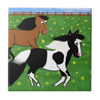 Cartoon Horses Running in Field Small Square Tile