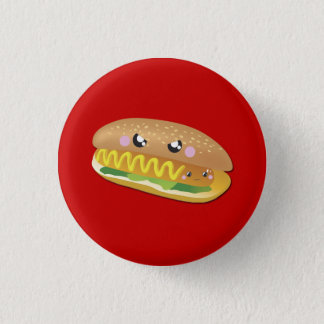 Cartoon Hot Dog on Red, Summer BBQ button