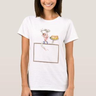 Cartoon Hotdog Chef Above Sign T-Shirt