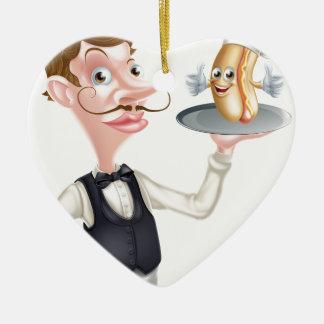 Cartoon Hotdog Waiter Ceramic Ornament