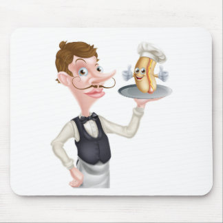 Cartoon Hotdog Waiter Mouse Pad