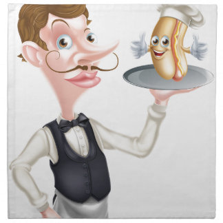 Cartoon Hotdog Waiter Napkin