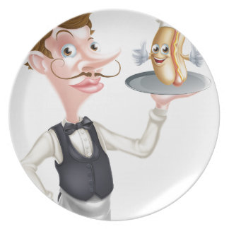 Cartoon Hotdog Waiter Plate