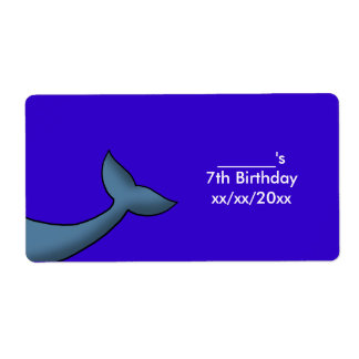Cartoon Humpback Whale Tail Wine or Water Bottle Shipping Label