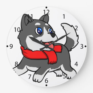 Cartoon husky puppy with scarf large clock