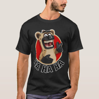 Cartoon Hyena Animal on Dark Material T-Shirt