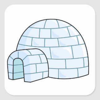 Cartoon Igloo Square Sticker