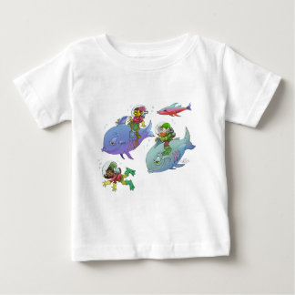 Cartoon illustration Gnomes and there fish friends Baby T-Shirt