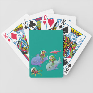 Cartoon illustration Gnomes and there fish friends Bicycle Playing Cards