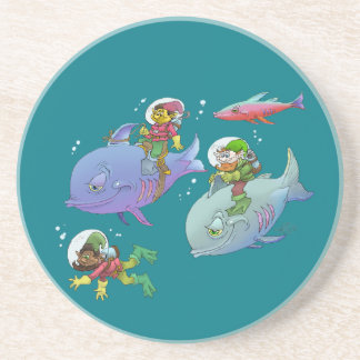 Cartoon illustration Gnomes and there fish friends Sandstone Coaster
