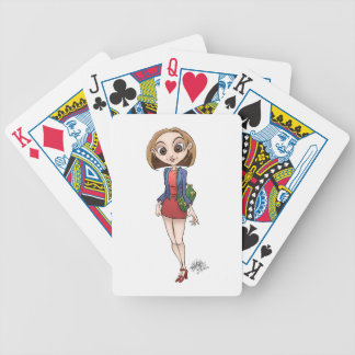 Cartoon illustration of a beautiful Asian woman. Bicycle Playing Cards