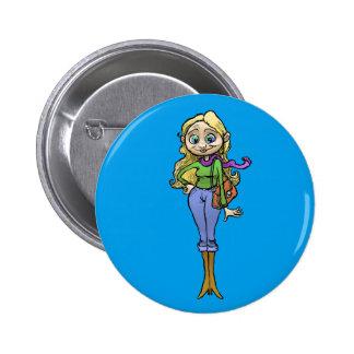 Cartoon illustration of a beautiful woman. 6 cm round badge