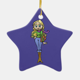 Cartoon illustration of a beautiful woman. ceramic star decoration