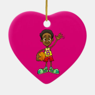Cartoon illustration of a boy holding a ball. ceramic heart decoration