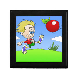 Cartoon illustration of a boy kicking a tomato. small square gift box