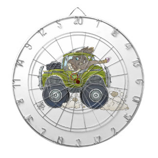Cartoon illustration of a Elephant driving a jeep. Dartboard