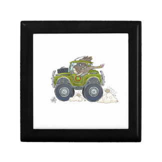 Cartoon illustration of a Elephant driving a jeep. Gift Box
