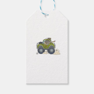 Cartoon illustration of a Elephant driving a jeep. Gift Tags