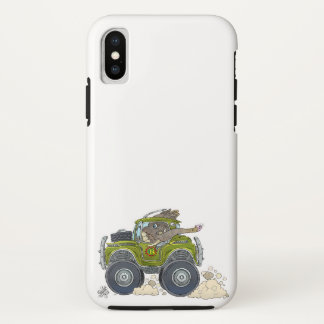 Cartoon illustration of a Elephant driving a jeep. iPhone X Case
