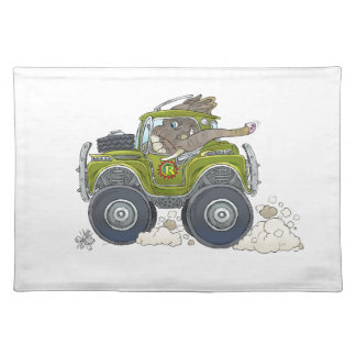 Cartoon illustration of a Elephant driving a jeep. Placemat