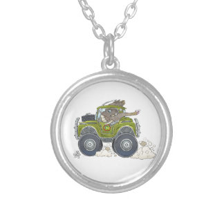 Cartoon illustration of a Elephant driving a jeep. Silver Plated Necklace