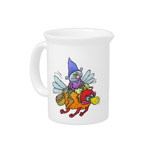 Cartoon illustration of a gnome riding a bee. pitchers