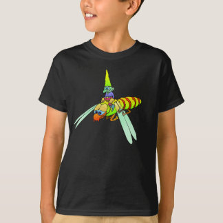 Cartoon illustration of  a gnome riding a wasp. T-Shirt