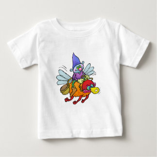 Cartoon illustration of a gnome riding an bee. tees
