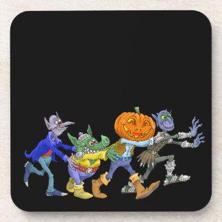 Cartoon illustration of a Halloween congo. Beverage Coasters