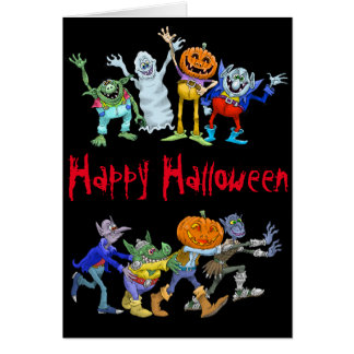 Cartoon illustration of a Halloween congo. Card
