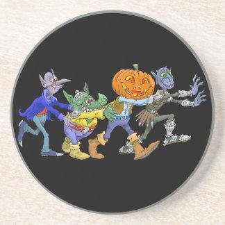 Cartoon illustration of a Halloween congo. Drink Coaster