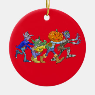 Cartoon illustration of a Halloween congo. Round Ceramic Decoration