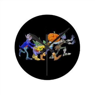 Cartoon illustration of a Halloween congo. Round Clock